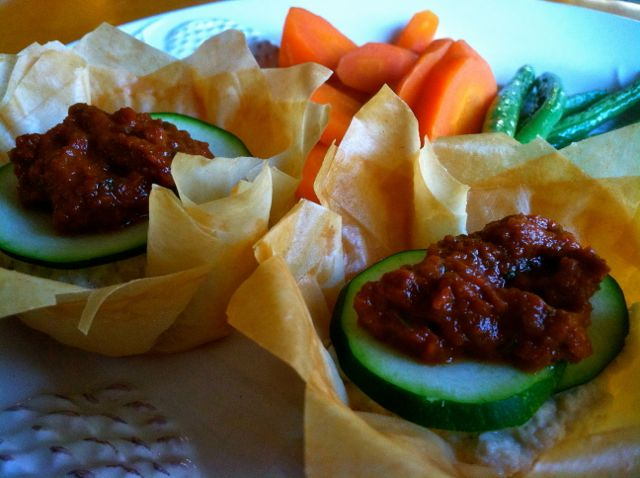 Vegan phyllo cups with cashew ricotta and sun dried tomato sauce