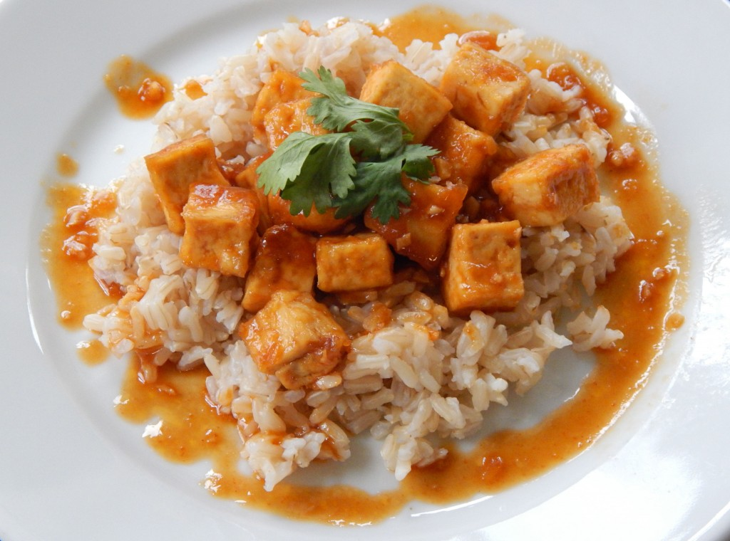 Vegan Siracha Garlic Tofu