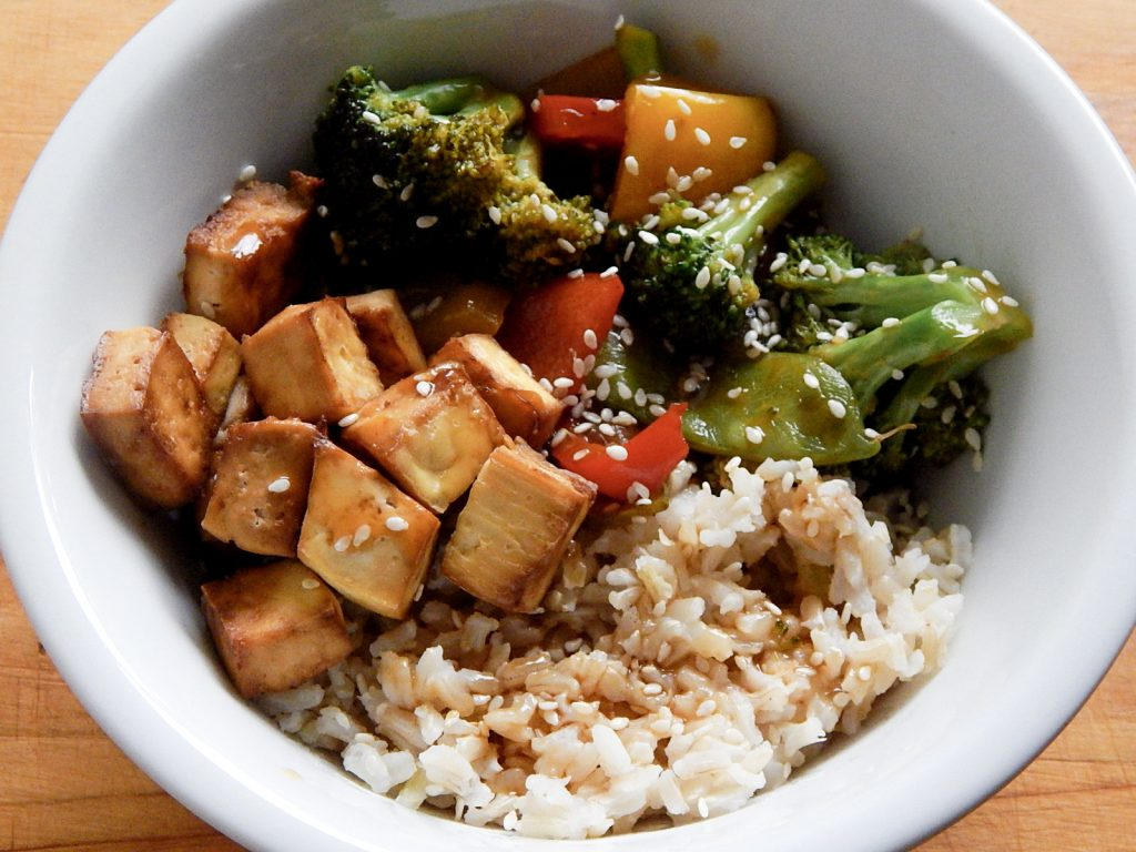 Stir fry with baked tofu
